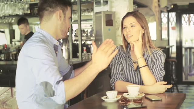 Young friends at the coffee shop video