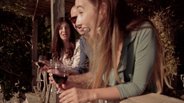 vídeos y material grabado en eventos de stock de jóvenes amigos, beber vino tinto en el balcón de casa de campo rústica - moda de otoño