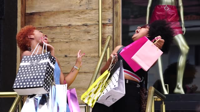 Young Friends Shopping In the Street video