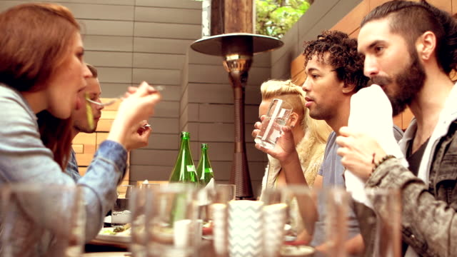 SLOW MOTION - Young Friends Terrasse Restaurant in Los Angeles, CA video