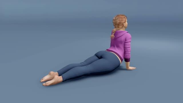 ung full-tänkte kaukasisk kvinna i cobra yogaställning - bum bildbanksvideor och videomaterial från bakom kulisserna