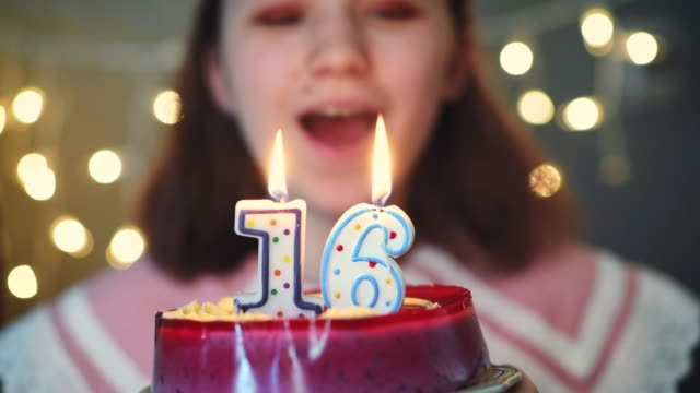 Young girl blowing candles on birthday cake