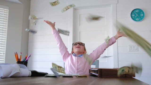 Young Girl Businesswoman Throwing Money
