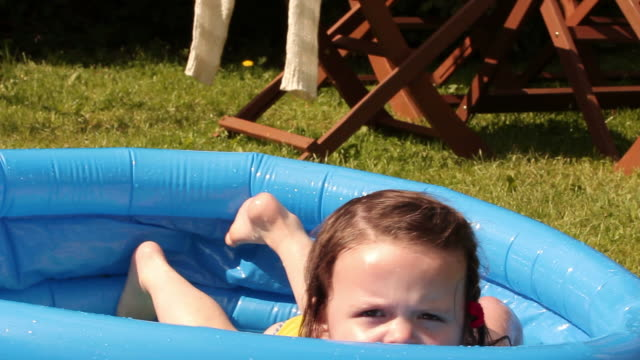 Young Girl In A Paddling Pool On Summers Day video