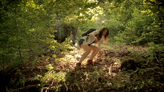 Young girl in the forest exploring terrain video