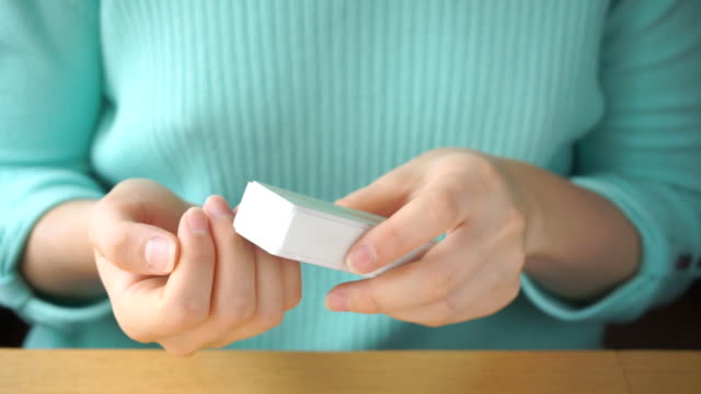 young girl polishes her nails - giuntura umana video stock e b–roll