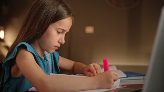 Young girl studying sitting at the table at home
