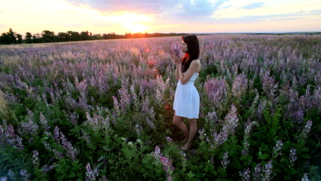 Young Girl With a Bouquet Of Lavender video