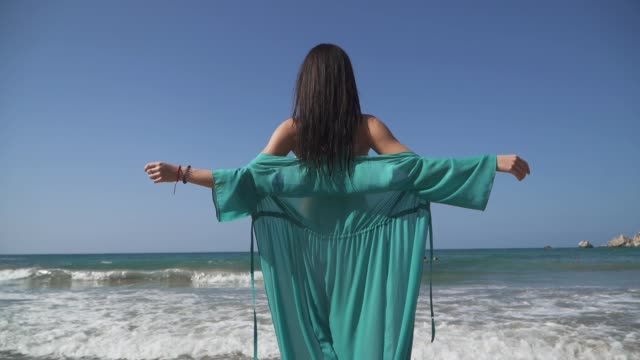 Young girl with arms outstretched standing on the beach in a thin transparent dress in the background of the sea. Cute babe enjoys her freedom.