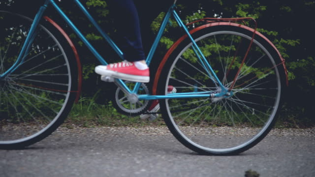 Young girl with old bicycle video