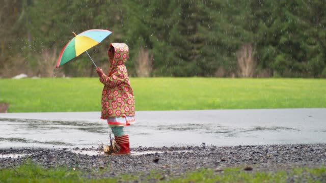 Young girl with umbrella playing in rain, slow motion