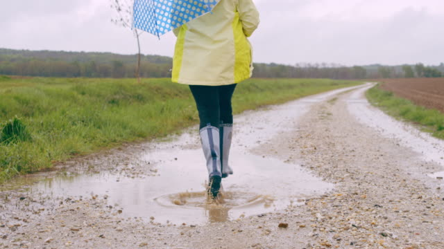 SLO MO Young girl with umbrella skipping through a puddle