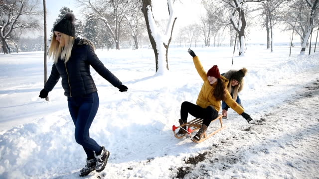 Young girls are having fun on the snow in the park.