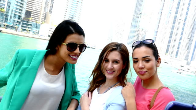 Young girls take selfie in Dubai video