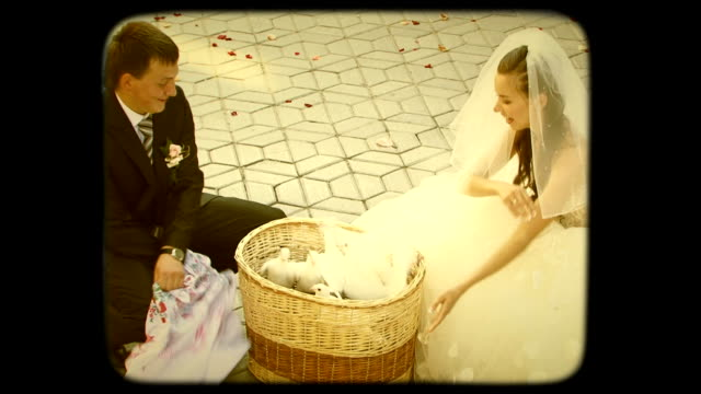 Young Groom And Bride  Release Pigeons. Retro video