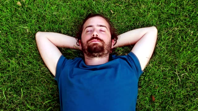 Young guy lie down on grass video