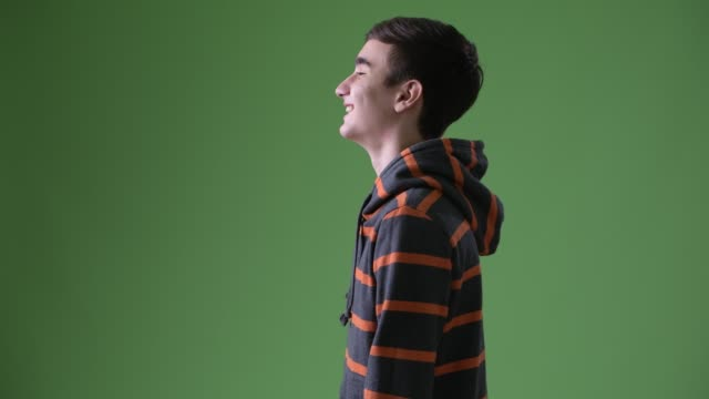 Young handsome Iranian teenage boy against green background Studio shot of young handsome Iranian teenage boy against chroma key with green background sweatshirt stock videos & royalty-free footage