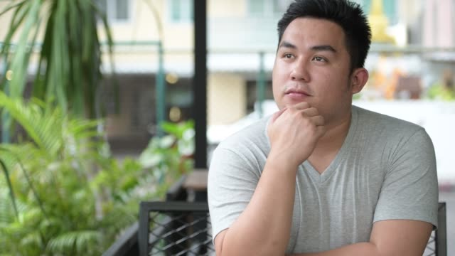 Young handsome overweight Asian man relaxing at the coffee shop Portrait of young handsome overweight Asian man relaxing at the coffee shop filipino ethnicity stock videos & royalty-free footage