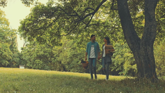 young happy couple enjoying in spring day in nature and going on picnic. - picnic stock videos and b-roll footage