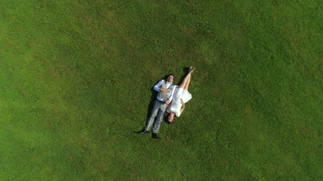 AERIAL TOP DOWN: Young happy pregnant couple lying down on grass on sunlit day video