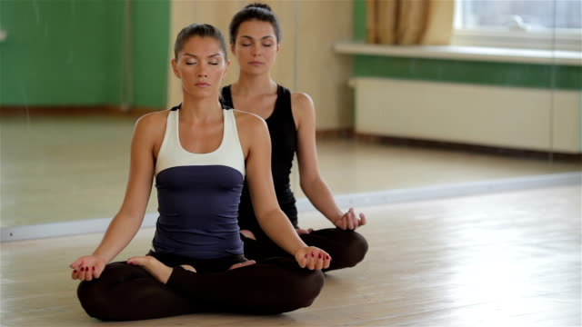 Young healthy girls sitting in lotus pose video
