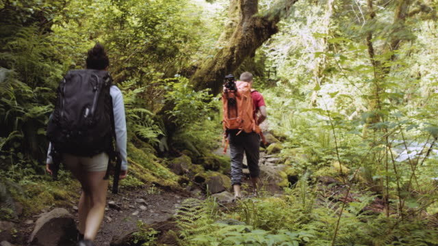 Young heterosexual couple backpacking through woods
