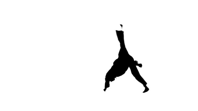 young karate or taekwondo makes rack on a white background, Silhouette video