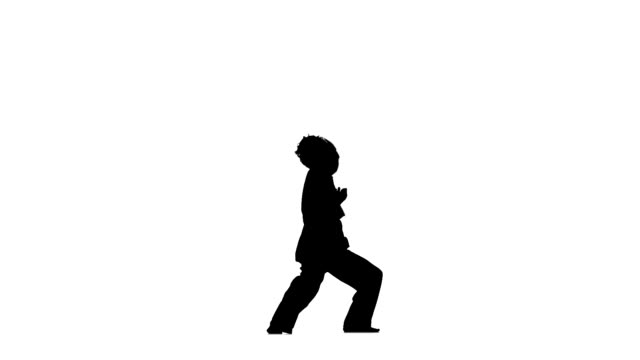 young karate or taekwondo makes rack on a white background, Silhouette, hand movements video