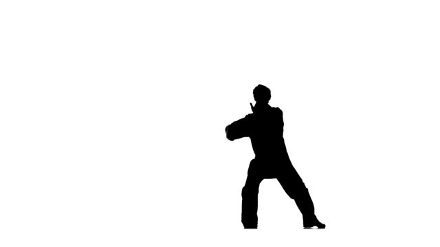 young karate or taekwondomakes rack on a white background, Silhouette video