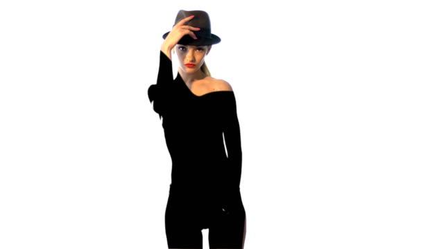 young lady in hat with deep black shadow on her body video