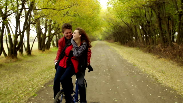 Young love on an Autumn road video