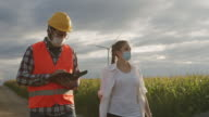 istock Young maintenance engineer and agronomist team working in wind turbine farm at sunset 1257210091