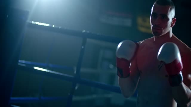 Young male boxer ready to fight in the boxing ring video