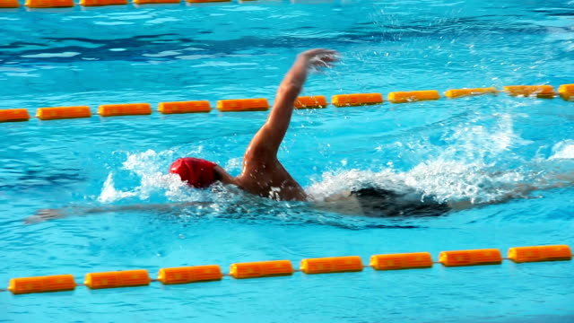 HD: Young male swimmer at Front crawl video
