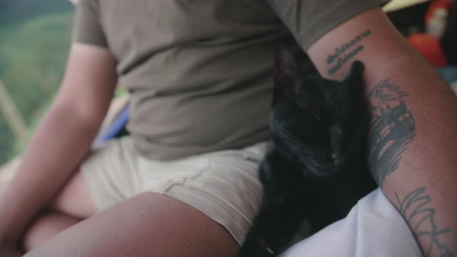 Young man and cat having fun in a tent.