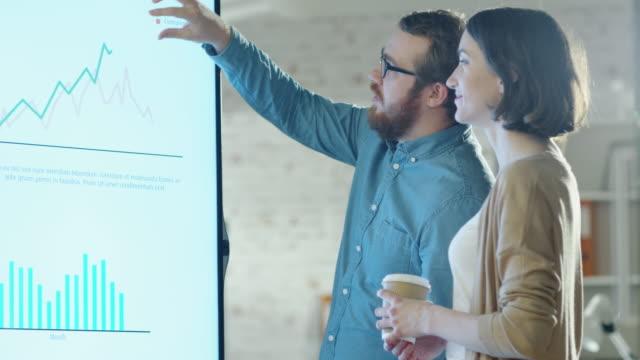 ung man och kvinna diskutera diagram ritas på deras elektronisk whiteboard. man visar detaljer på skärmen kvinna lyssnar holding kopp av kaffe i hennes hands.their office är utvecklare och moderna utseende. - whiteboardtavla bildbanksvideor och videomaterial från bakom kulisserna
