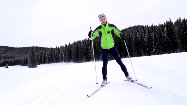 HD: Young Man at Cross Country Skiing video