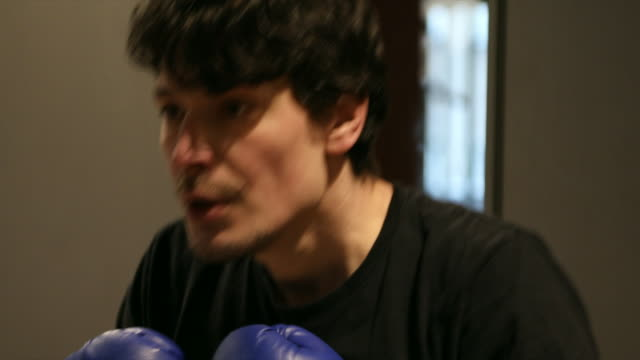 Young Man Boxing in Gym video