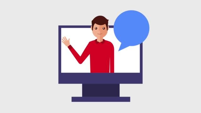 young man cartoon waving hand on monitor computer - характеры стоковые видео и кадры b-roll