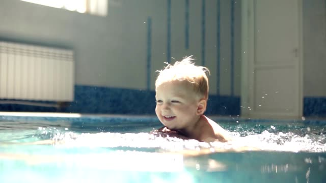 young man dives under the water. rowing in the closed swimming pool. little boy is onhis fathers back. smilling. mother is hugging them. happy family time - neonati maschi video stock e b–roll