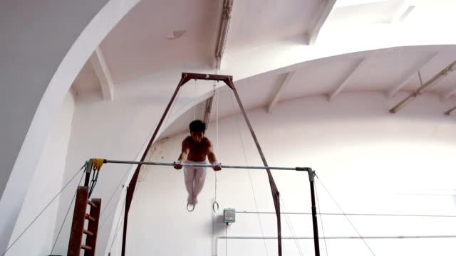 Young man gymnastics video