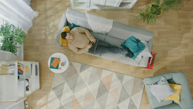 vídeos de stock e filmes b-roll de young man in brown jumper and grey jeans lying down on a sofa, using a laptop. he is happy and smiles. cozy living room with modern interior with plants, table and wooden floor. top view. - sala