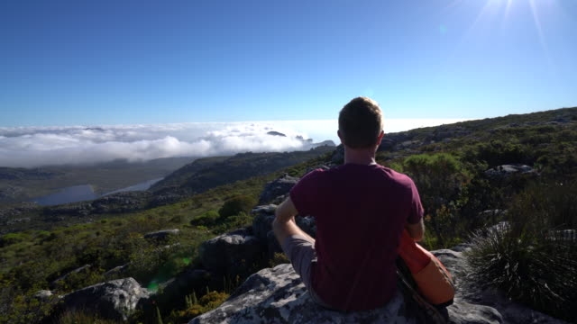 Young man in Cape Town on top of mountain looking at view Man hiker sitting on rock contemplating nature, Table Mountain National Park, South Africa table mountain national park stock videos & royalty-free footage