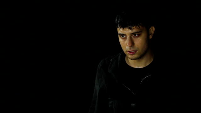 Young Man in Rain Wet Depressed Desperate Alone video
