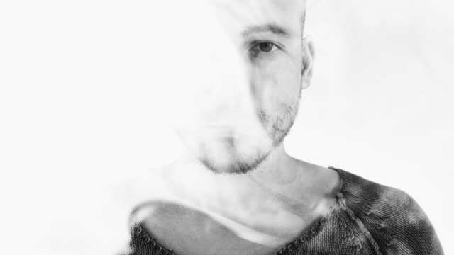 Young Man in Smoke Double Exposure