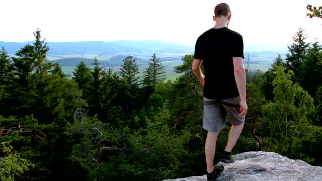 Young man looking to valley from rock, relax in landscape