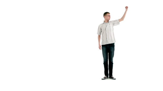 Young man on a white background video