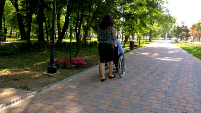 young man on wheelchair talking with his wife in park - sostegno emotivo video stock e b–roll
