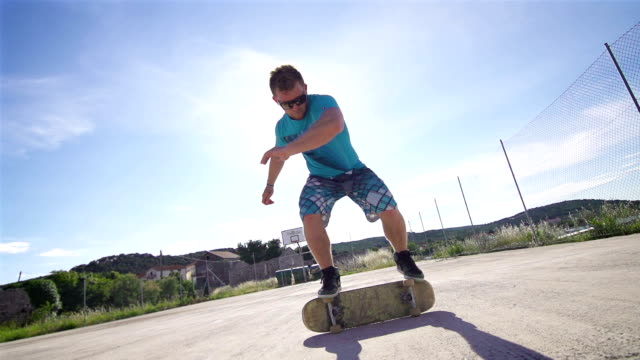 Young man performing a trick on a skateboard video