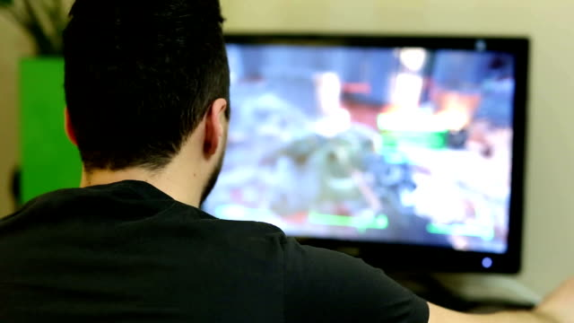 Young man playing a video game on personal computer video